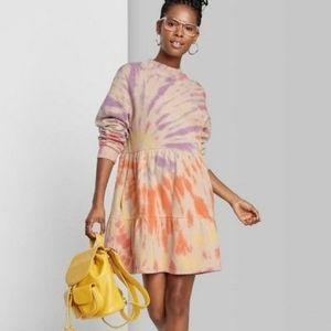 Wild Fable Tie Dye Long Sleeve Sweatshirt Dress